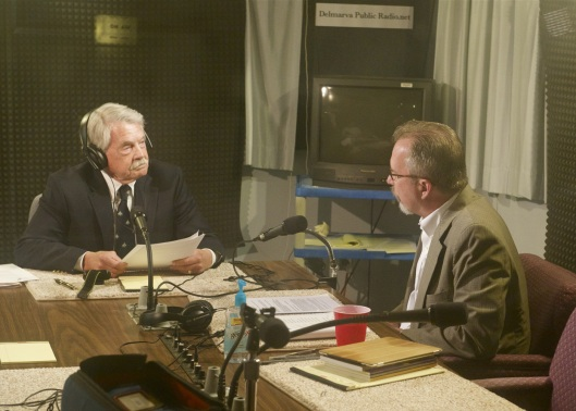 Hal Wilson, of the Eastern Shore Writers Association, interviews Ron Capps in Public Radio Delmarva's studio (WSDL, Salisbury). - Photographed by Wilson Wyatt