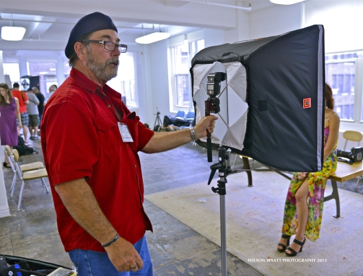 "Nikon Mentor David Tejada explains ""Four Square"" soft box lighting while photographing model Richelle Oslinker."