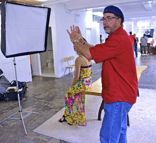 Mentor David Tejada setting up a model shoot