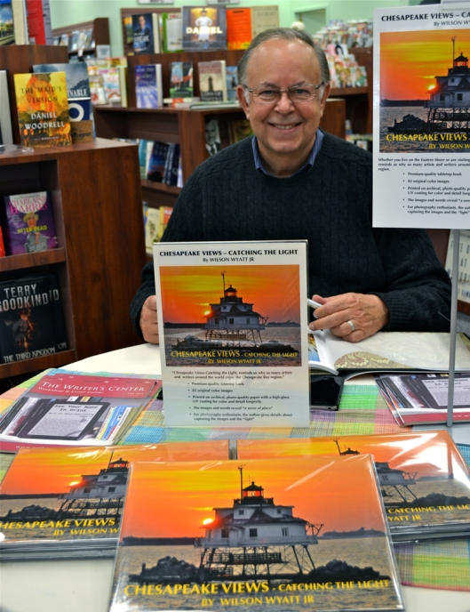 "Author-photographer Wilson Wyatt at a book signing for ""Chesapeake Views - Catching the Light,"" at The News Center, in Easton, MD. Photo by Katie Wyatt"