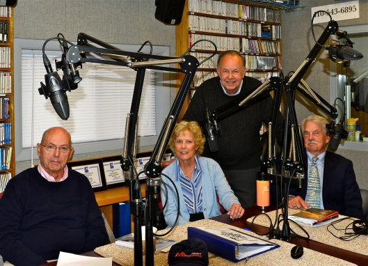 Recording in the WSDL studio, Delmarva Public Radio, are(l to r) George Merrill, Wendy Elizabeth Ingersoll, Wilson Wyatt, with show host Harold   Wilson